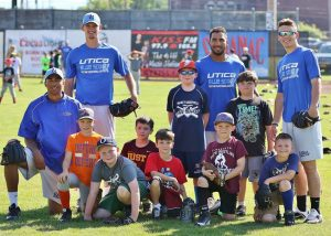 Utica Blue Sox Players with Kids