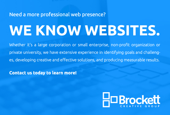 We Know Websites. Brockett Creative Group.